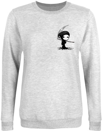 Cute Grim Reaper - Ladies Heather Grey Sweatshirt