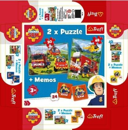 Feuerwehrmann Sam - 2 Puzzles (30 + 48 Teile) +Memo