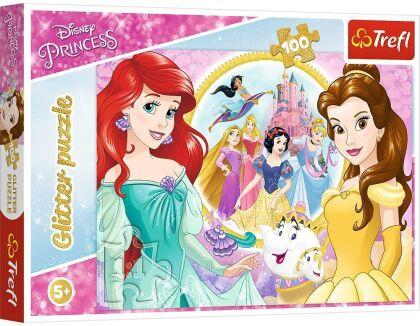Disney Princess: Bella und Arielle - 100 Teile Glitterpuzzle