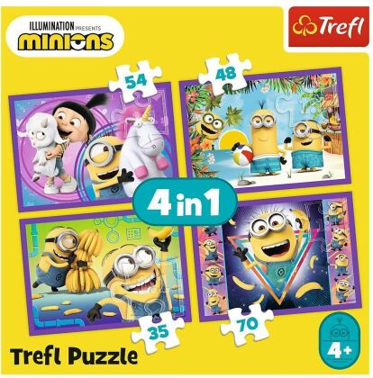 4 in 1 Puzzle: Minions - 35/48/54/70 Teile Kinderpuzzles