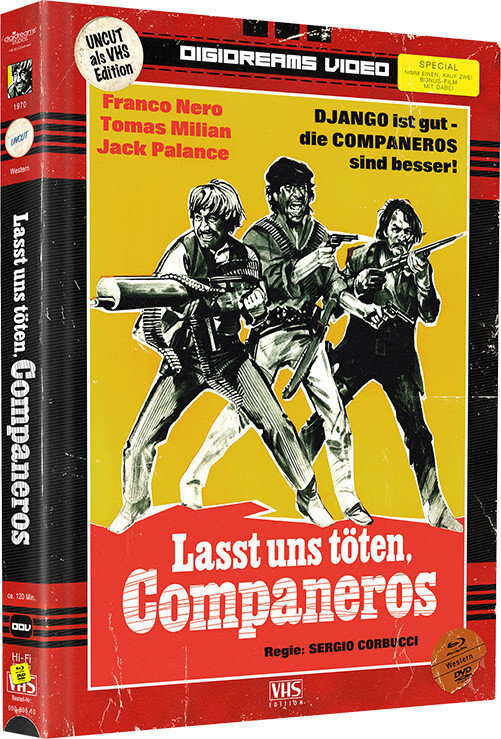 Lasst uns töten, Companeros / Zwei wilde Companeros (VHS-Edition, Edizione Limitata, Mediabook, Uncut, Blu-ray + DVD)