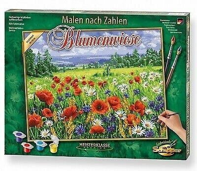 Blumenwiese - Spezialkarton mit Leinenstruktur, Bildgröße: 50 x 40 cm, Acrylfarben, Pinsel. Ohne Rahmen!