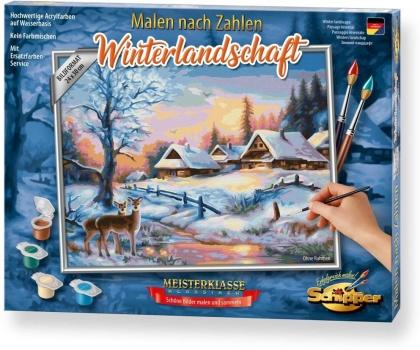 Winterlandschaft - Spezialkarton mit Leinenstruktur, Acrylfarben, Pinsel. Ohne Rahmen!