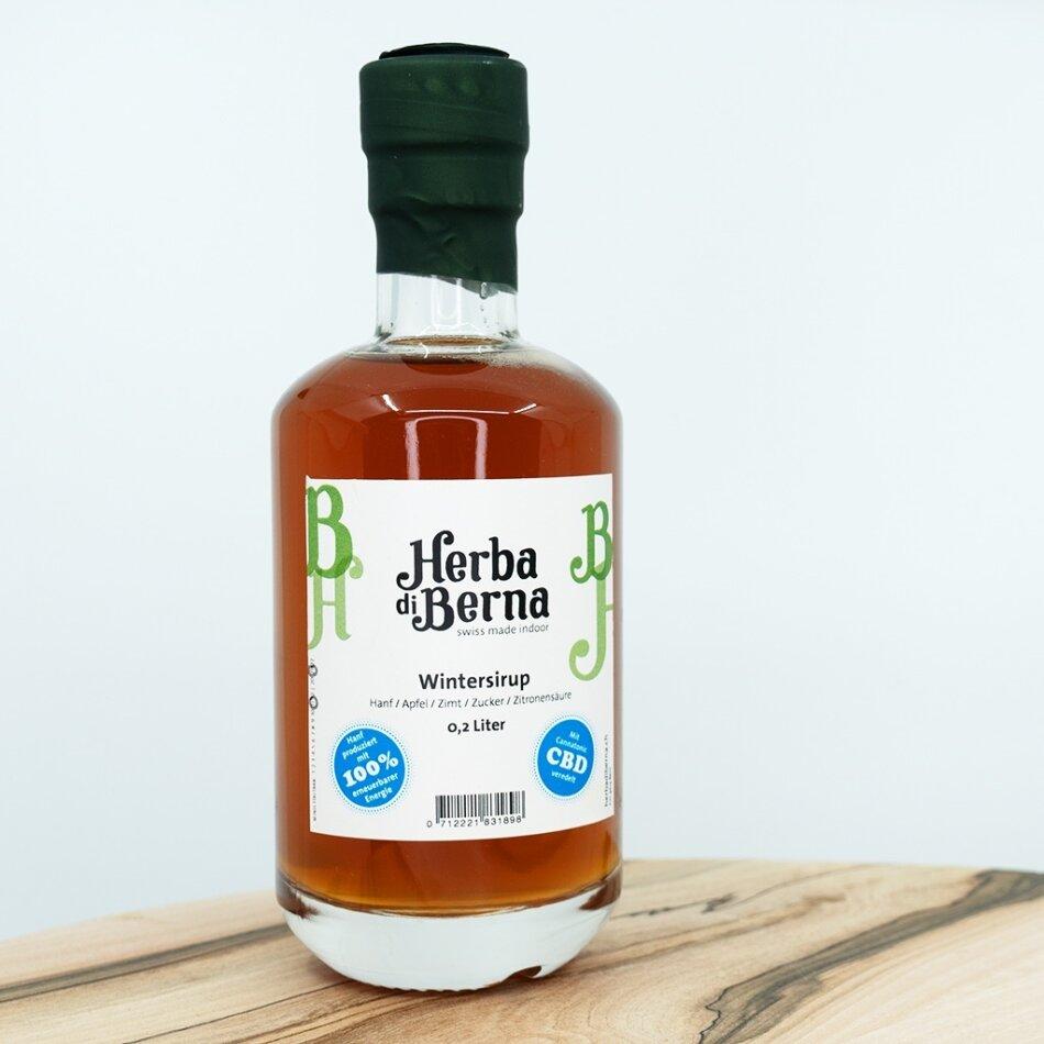 Herba di Berna Wintersirup in der Flasche 2dl - CBD-Sirup mit Bio-Apfelsaft und Zimt