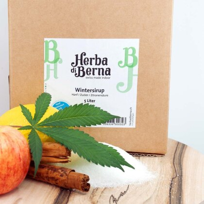 Herba di Berna Wintersirup in der Box 5l - CBD-Sirup mit Bio-Apfelsaft und Zimt