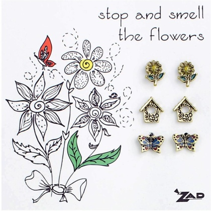 Stop and Smell the Flowers - Mini Stud Earrings: Set of 3 Pairs