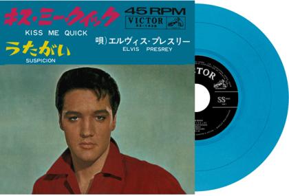 "Elvis Presley - Kiss Me Quick / Suspicion (2021 Reissue, Japan Edition, Blue Vinyl, 7"" Single)"