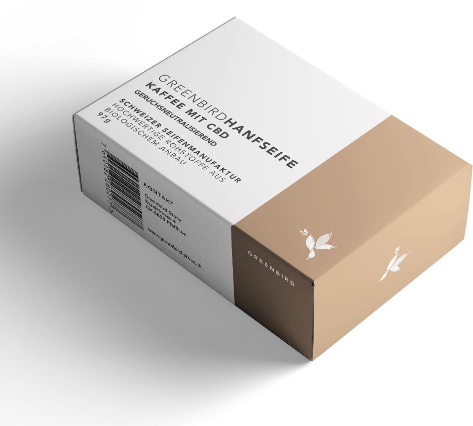 Greenbird Hanfseife - Kaffee (97g, 90mg CBD)