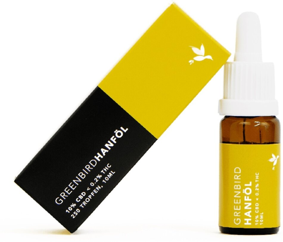 Greenbird CBD Hanföl 10% (10ml) - 1000mg CBD <0.2% THC (-275 Tropfen)