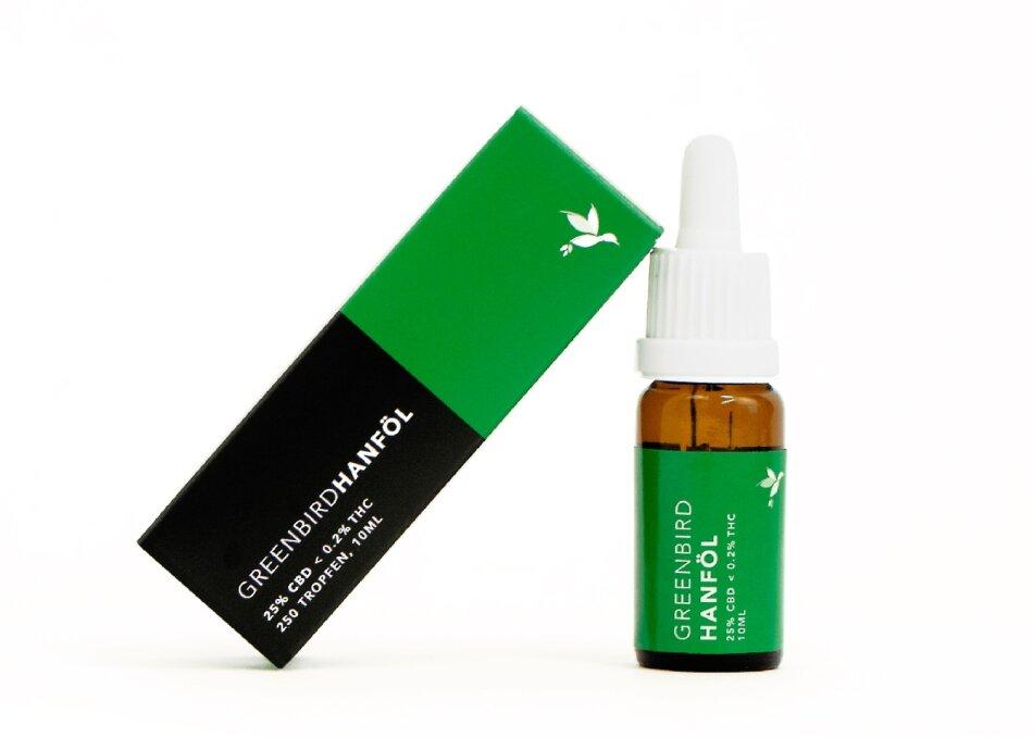 Greenbird CBD Hanföl 25% (10ml) - 2500mg CBD <0.2% THC (-275 Tropfen)