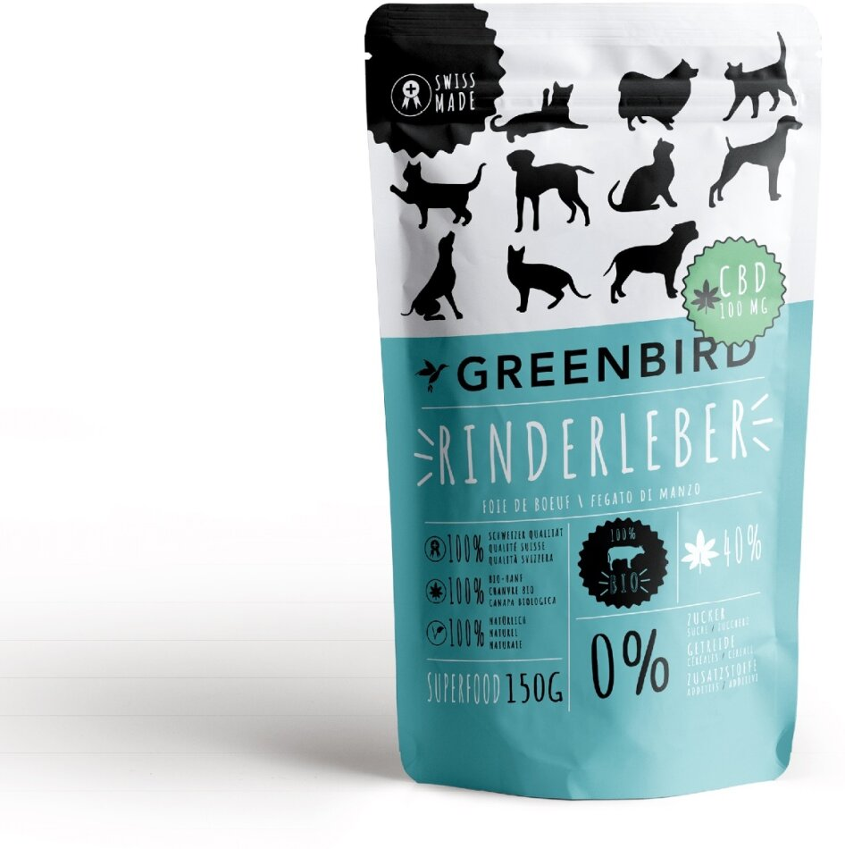 Greenbird Snack Rinderleber mit CBD für Tiere - 150g enthalten 100mg CBD
