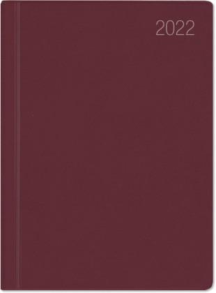 Taschenkalender bordeaux 2022 - Bürokalender 10,2x14,2 - 1 Woche auf 2 Seiten - flexibler Kunststoffeinband - Notizheft - Wochenkalender - 640-1011