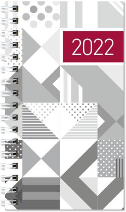 Taschenplaner silber 2022 - Bürokalender 8,6x15,2 cm - 1 Woche auf 2 Seiten - Kartoneinband mit Silberfolie - Notizheft - 576-1140