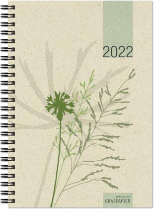 Wochenbuch Graspapier 2022 - 13,7x19,6 cm - 1 Woche auf 2 Seiten - robuster Kartoneinband - Wochenkalender - Noitzheft - 759-0640