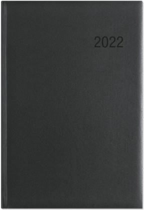 Wochenbuch schwarz 2022 - Bürokalender 14,6x21 cm - 1 Woche auf 2 Seiten - mit Eckperforation - Notizbuch - Wochenkalender - 766-0020