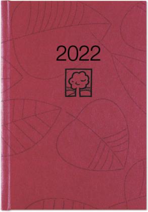 Wochenbuch rot 2022 - Bürokalender 14,6x21 cm - 1 Woche auf 2 Seiten - 128 Seiten - mit Eckperforation - Notizbuch - Blauer Engel - 766-0711