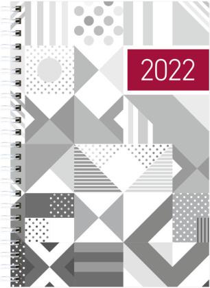 Wochenbuch silber 2022 - Bürokalender 14,6x21 cm - 1 Woche auf 2 Seiten - Einband mit Silberfoliendruck - Notizbuch - Wochenkalender - 766-1140