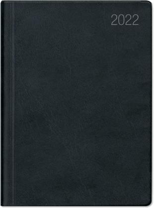 Taschenkalender schwarz 2022 - Bürokalender 10,2x14,2 - 1 Woche auf 2 Seiten - flexibler Kunststoffeinband - Notizheft - Wochenkalender - 640-1020