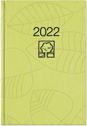 Wochenbuch grün 2022 - Bürokalender 14,6x21 cm - 1 Woche auf 2 Seiten - 128 Seiten - mit Eckperforation - Notizbuch - Blauer Engel - 766-0713