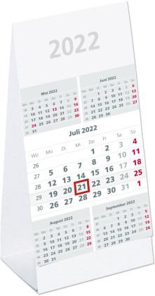 Tischaufstellkalender 5 Monate 2022 - 10,5x21 cm - 5 Monate auf 1 Seite - mit Kopftafel und Datumsschieber - Mehrmonatskalender - 982-0000