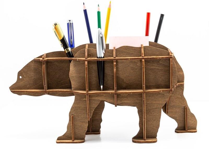 Wooden desktop organiser - Bear (brown) - 26 parts