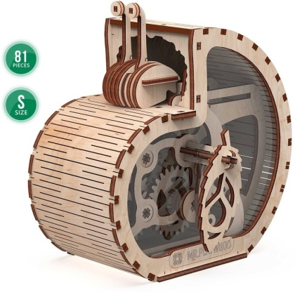 Mechanical 3D wooden puzzle - Snail-moneybox Small - 81 pieces