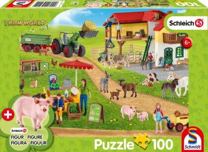 Farm World: Bauernhof und Hofladen - 100 Teile Puzzle mit Add-on (eine Original Schleich Figur)