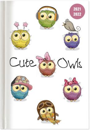Collegetimer Cute Owls 2021/2022 - Schüler-Kalender A5 (15x21 cm) - Eule - Weekly - 224 Seiten - Terminplaner - Alpha Edition