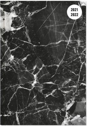 Collegetimer Black Marble 2021/2022 - Schüler-Kalender A6 (10x15 cm) - Marmor - Day By Day - 352 Seiten - Terminplaner - Notizbuch - Alpha Edition