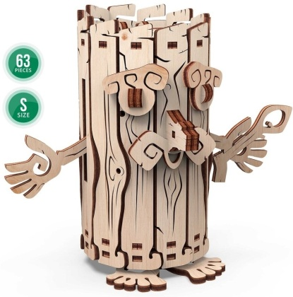 Mechanical 3D wooden puzzle -Forest Spirit - moneybox - 63 parts