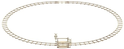 Round railway + crossing - Mechanical 3D wooden puzzle - 159 parts