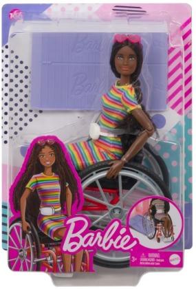 Barbie Fashionistas Puppe mit Rollstuhl und gekräuselten braunen Haaren