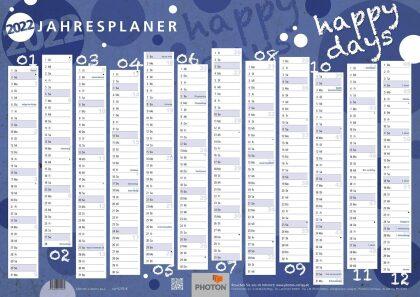 """JAHRESPLANER """"HAPPYDAYS"""" Kalender 2022"""