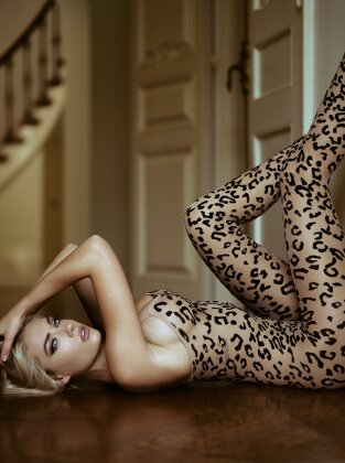 Leopard Footless Bodystocking - S/M