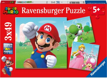 Ravensburger Kinderpuzzle 05186 - Super Mario - 3x49 Teile Puzzle für Kinder ab 5 Jahren