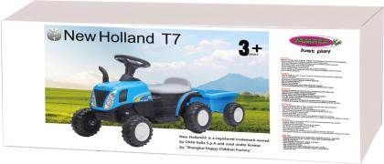 Jamara Ride-on Traktor New Holland mit Anhänger blau 6V