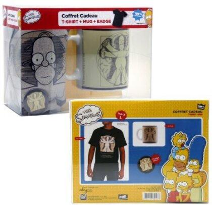 Mug + T-shirt + Badge Simpsons - Homer Da Vinci - L - Grösse L