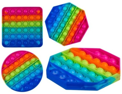 Fidget Pop Toy aus Silikon (Geometrisch Rainbow) - Farbe & Form Assortiert, 1 Stück