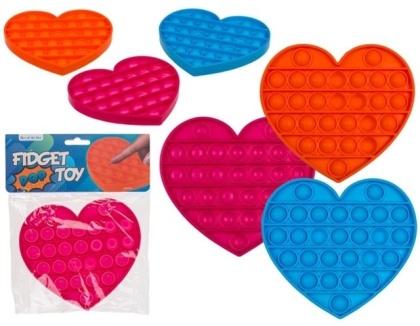 Fidget Pop Toy aus Silikon (Heart Pop Rainbow ) - Farbe Assortiert, 1 Stück
