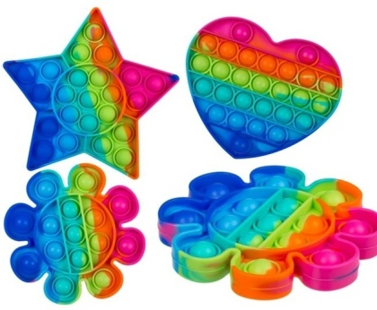 Fidget Pop Toy aus Silikon (Star/Heart Pop Rainbow) - Farbe & Form Assortiert, 1 Stück