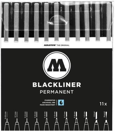 Set complet 11 Blackliner - MOLOTOW - toutes tailles - 12.4 cm