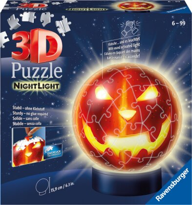 Ravensburger 3D Puzzle Kürbiskopf Nachtlicht 11253 - Puzzle-Ball - 72 Teile - für Halloween Fans ab 6 Jahren