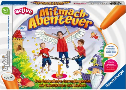 Ravensburger tiptoi ACTIVE Spiel 00076, Mitmach-Abenteuer, Bewegungsspiel ab 3 Jahren, mit Geschichten - schönen Liedern und lustigen Reimen
