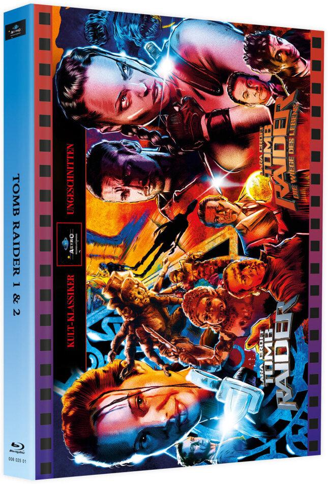 Lara Croft: Tomb Raider / Lara Croft: Tomb Raider - Die Wiege des Lebens (Cover Astro, Kult-Klassiker Ungeschnitten, Limited Edition, Mediabook, 2 Blu-rays + 2 DVDs)