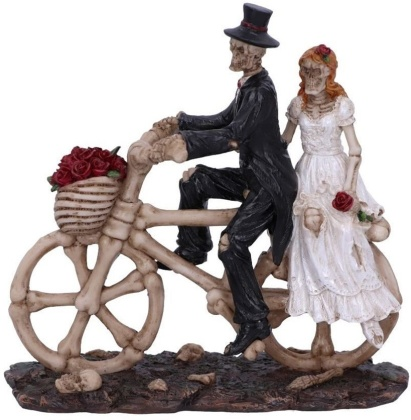 Hitch a Ride - Bicycle Riding Skeleton Lovers Wedding Figurine