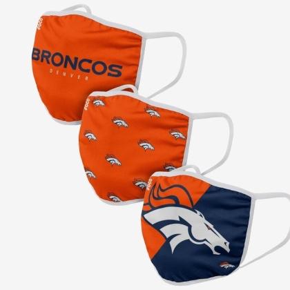 NFL Team Denver Broncos - Gesichtsmasken 3er Pack