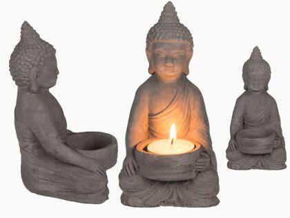 Thai Buddha Teelichthalter aus Zement - ca. 11 cm
