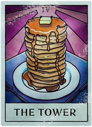 Deadly Tarot Life - The Tower Glass Chopping Board