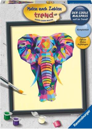 Ravensburger Malen nach Zahlen 28987 – Bunter Elefant – ab 12 Jahren