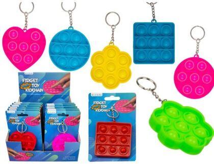 Fidget Push Pop Bubble Schlüsselanhänger 7x7x1,3 cm - 1 Stück assortiert